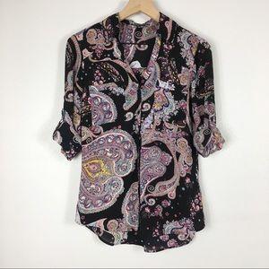 Express Portifino Sheer Paisley Button Down Shirt